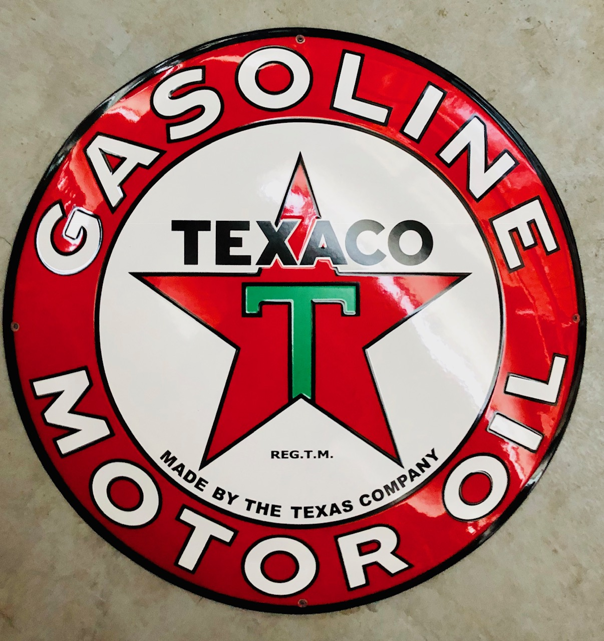 Enamel sign Texaco Gasoline motor oil 50 cm - StefVintageStore