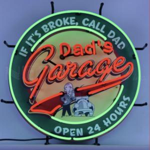 Enseigne neon Dad's Garage 60 cm