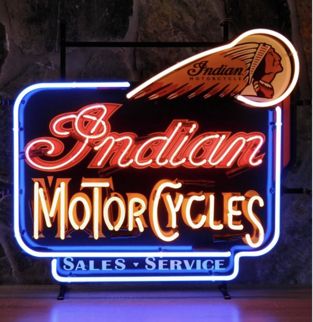 Neon Sign Indian Motorcycles 75x60cm