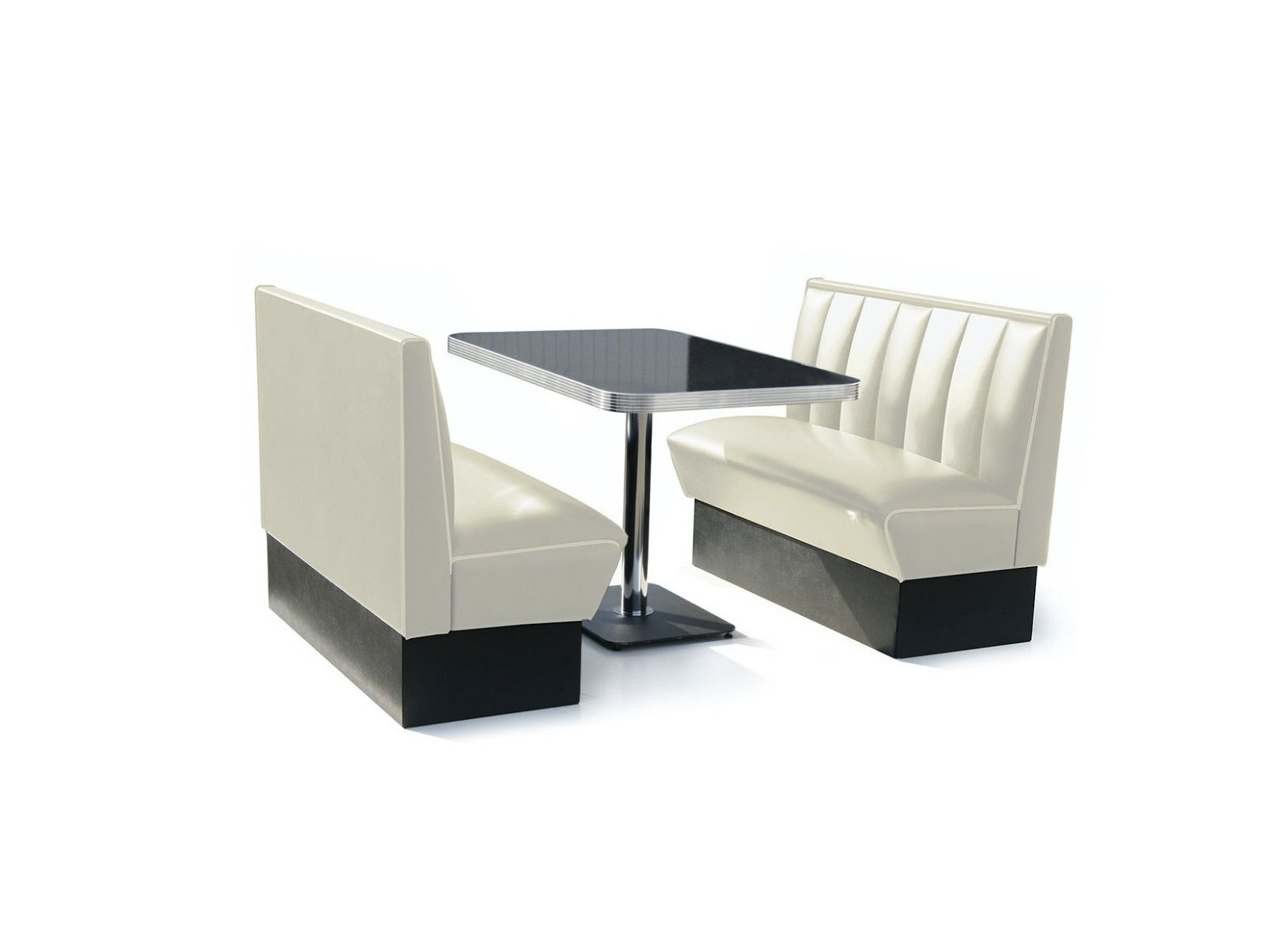Bel Air Diner Booth Classic Diner 120cm White Kit 2 Pc 1 Table