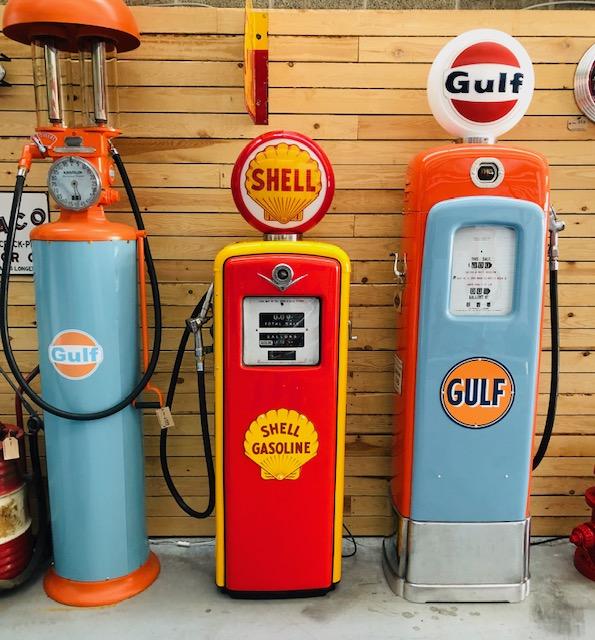 ancienne pompe essence américaine shell