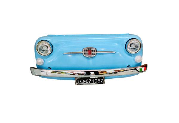 Déco vintage face avant fiat 500 bleu