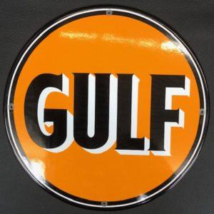 Plaque émailée gulf pompe essence
