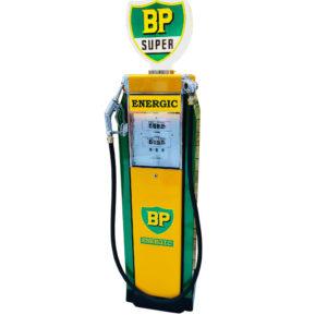 Ancienne pompe essence BP Satam de 1950 restaurée