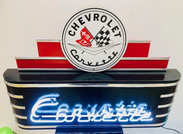 enseigne néon rétro chevrolet Corvette USA