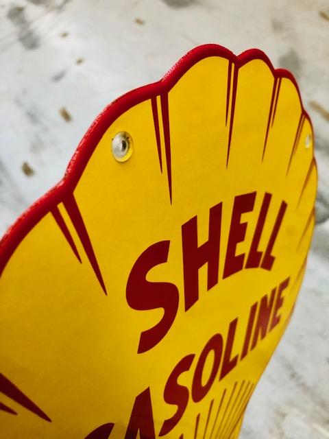 Plaque émailée shell ancienne pompe essence