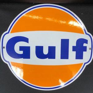 ancienne Plaque émailée Gulf 30cm