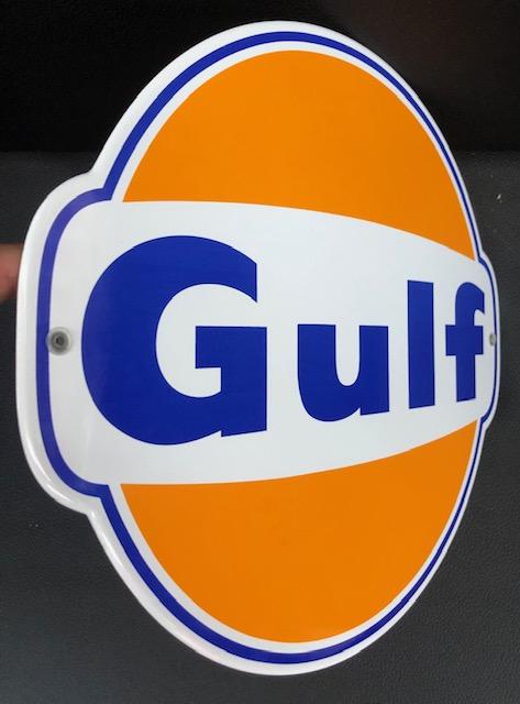 ancienne Plaque émailée Gulf 1960