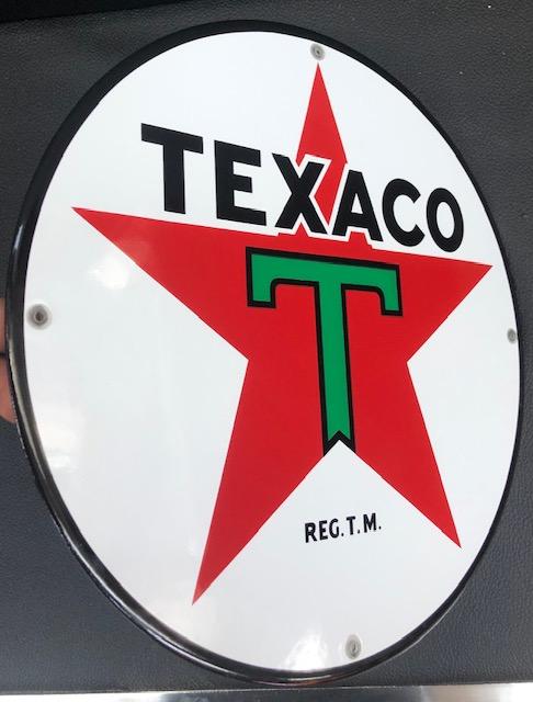 ancienne Plaque émailée texaco