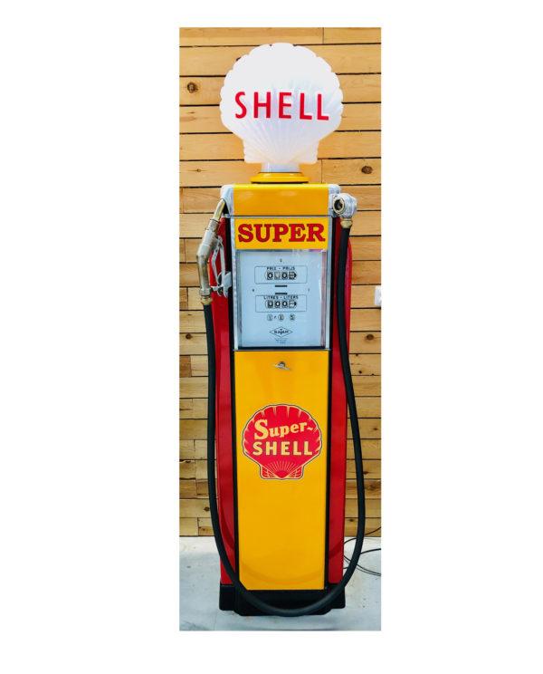 ancienne pompe essence satam rénovée shell