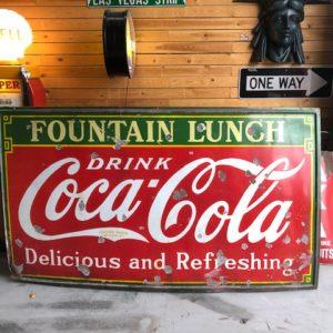 Coca cola fountain lunch enamel sign