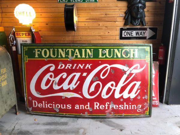 Plaque émaillée Coca cola fountain lunch