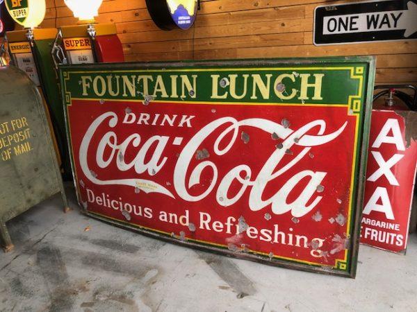 Plaque émaillée Coca cola fountain lunch USA