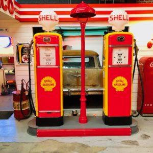 Shell service station island