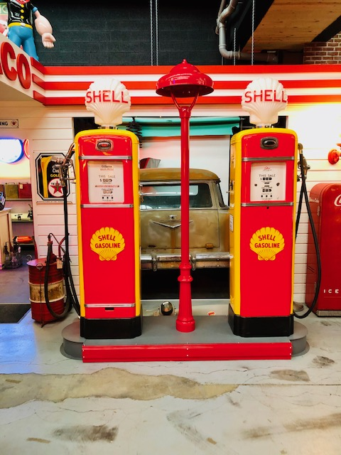 Shell service station island