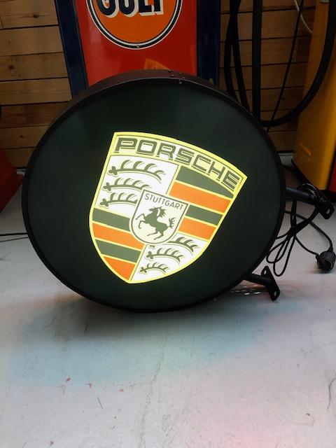 Enseigne lumineuse Porsche double face 60 cm