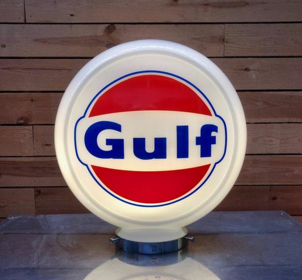 Globe pompe essence Gulf 40cm en verre qualité musée