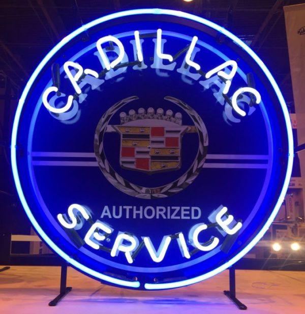 enseigne neon cadillac authorised services 60 cm