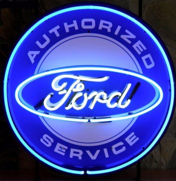 enseigne néon ford authorized services 60 cm