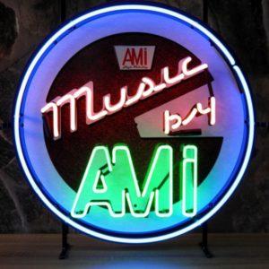 enseigne neon music by ami 60 cm