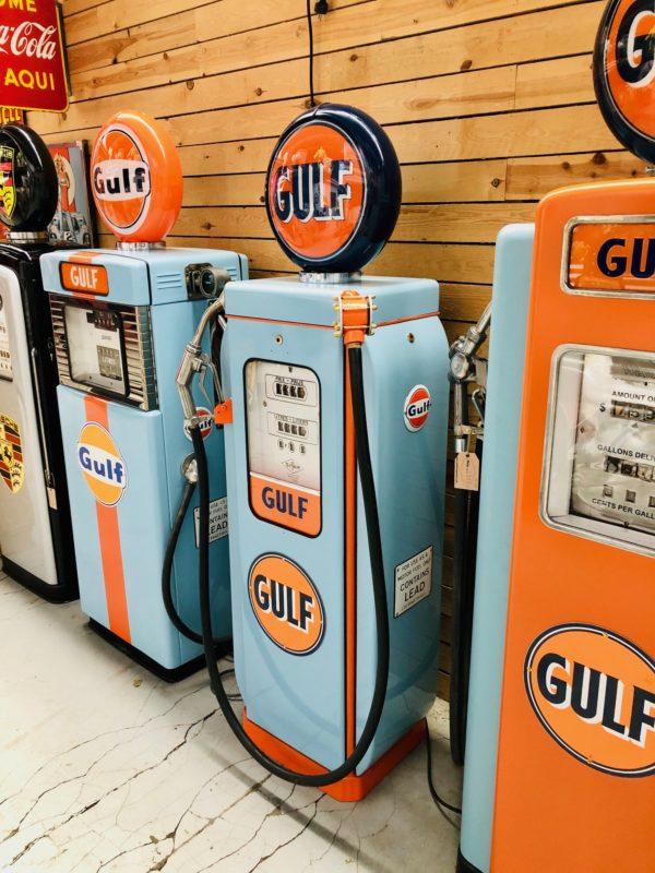 pompe à essence Gulf de 1950 restaurée