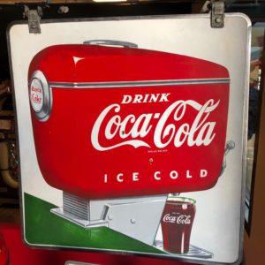 Plaque émaillée Coca Cola américaine double face des années 50.