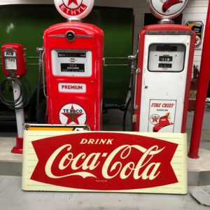 Coca Cola painted metal sign fischtail from 1950
