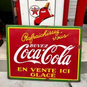 Coca Cola enamel sign of 1937 ( TP BRUSSELS )