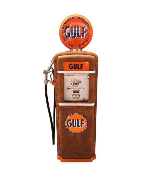 Pompe à essence américaine Gulf Gilbarco dans son jus 1955