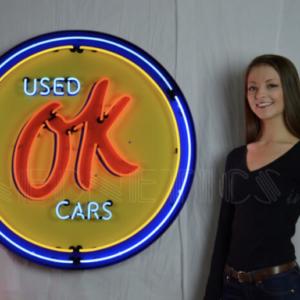 Enseigne Néon OK Used Car 95 cm