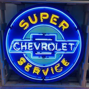 Enseigne Néon super Chevrolet service 95 cm