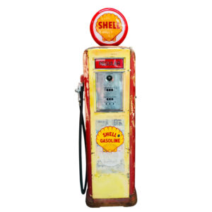 Shell Neptune American gas pump with its original patina from 1939.