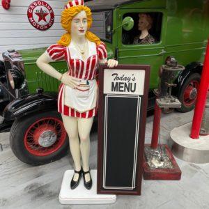Statue Serveuse vintage avec menu de restaurant 180 cm - stop trottoir