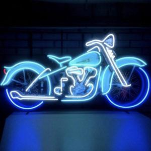 Enseigne neon motorcycle bleu 124 x 62cm