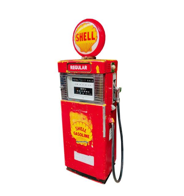 Pompe à essence américaine Shell Wayne 500 dans son jus.
